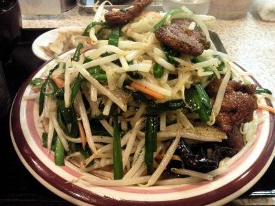 雪ん子@西船橋のニラレバ炒め定食のニラレバアップ